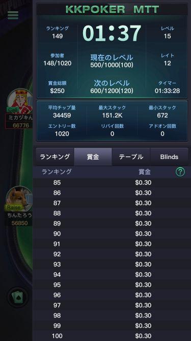 5/15(金)のFreerollのトーナメント詳細画像