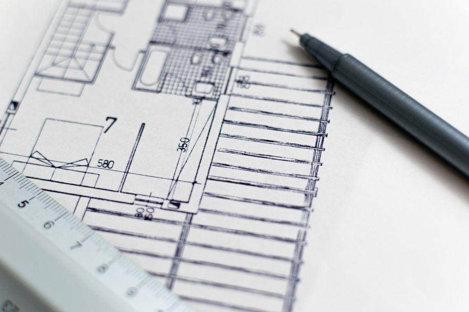 建築設計の資格を取るための図面(青写真)図