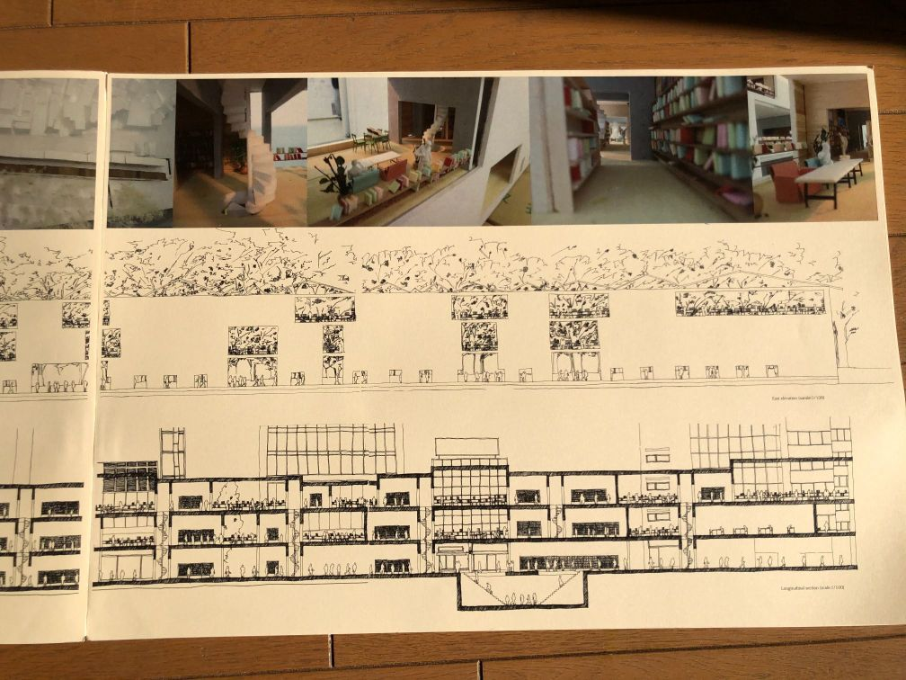 『Loop Library-山手線図書館-』模型イメージ図、展開図、断面図その2