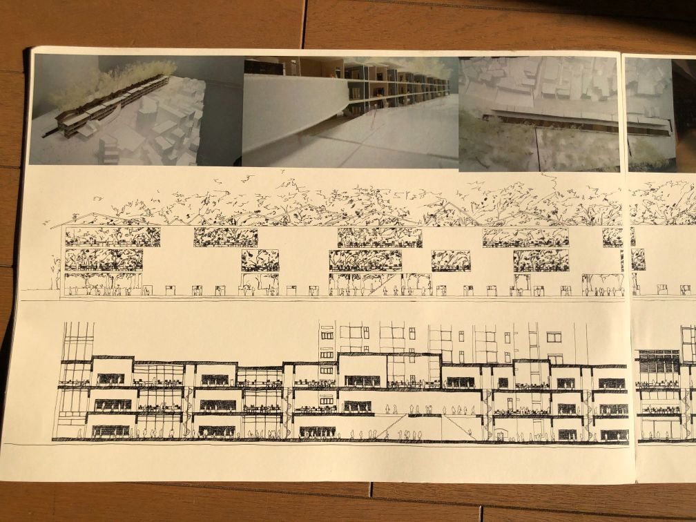 『Loop Library-山手線図書館-』模型イメージ図、展開図、断面図その1